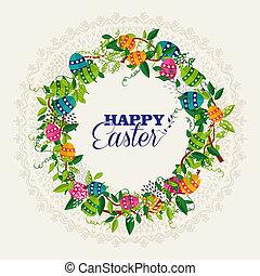 pascua feliz, guirnalda, colores, huevos