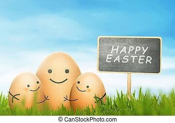 pascua feliz, huevos, con, señal, en, un, campo de la hierba