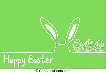 pascua feliz, imagen, vector., moderno, pascua feliz, plano de fondo, con, colorido, huevos, y, oreja, bunny., plantilla, pascua, tarjeta de felicitación, vector.