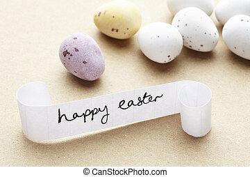 pascua feliz, mensaje, con, huevos de chocolate