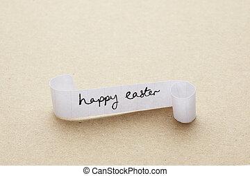 pascua feliz, mensaje, escrito, en, rollo papel