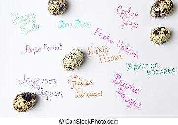 pascua feliz, nota, escrito, en, diferente, idiomas