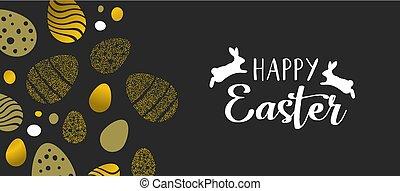 pascua feliz, oro, bandera, con, huevos, y, conejos
