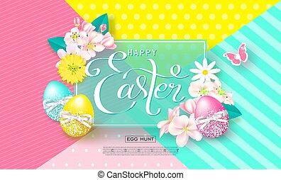 pascua feliz, plano de fondo, con, colorido, huevos, y, butterfly., huevo, hunt., vector, illustration., diseño, disposición, para, invitación, tarjeta, menú, bandera, cartel, voucher.