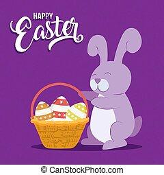 pascua feliz, tarjeta, con, diversión, conejo, y, canasta de huevo