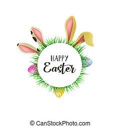 pascua feliz, tarjeta, con, diversión, orejas de conejito, y, huevos