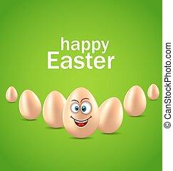 pascua feliz, tarjeta, con, divertido, huevo, humor,...
