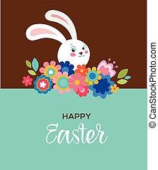pascua feliz, tarjeta de felicitación, cartel, con, lindo, dulce, conejito, y, flores