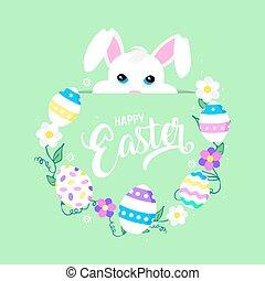 pascua feliz, tarjeta de felicitación, con, lindo, orejas de conejito