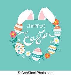 pascua feliz, tarjeta de felicitación, con, primavera, elementos