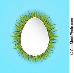 pascua feliz, tarjeta de papel, en, forma, huevo, con, hierba verde, espacio de copia, para, su, texto