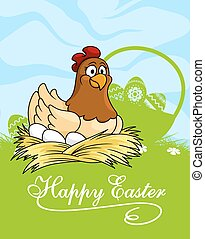 pascua feliz, tarjeta, diseño, con, un, gallina