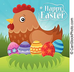 pascua feliz, tema, con, gallina, y, huevos