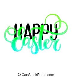 pascua feliz, vector, religioso, cristiano, primavera, mundo, feriado, diseño, tarjeta de felicitación, text., agradable, cepillo, colores