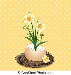 pascua, feriado, ilustración, amarillo, narciso, flor, en, punto, plano de fondo