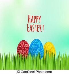 pascua, fondo verde, con, ornamento, huevos