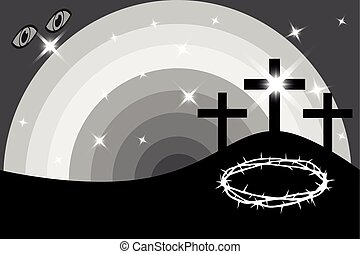 pascua, -, golgotha, tres, cruces