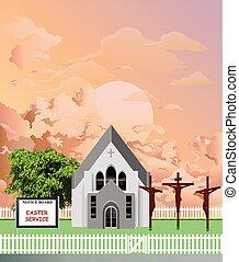 pascua, iglesia, amanecer, parroquia, servicio
