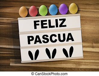 pascua, lightbox, -, huevos, pascua, feliz, plano de fondo, caja de madera, o, feliz, luz, español, palabras