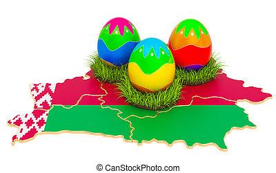 pascua, map., 3d, belorussian, belarus, huevos, interpretación, feriado