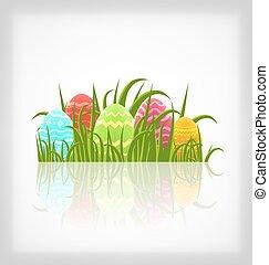 pascua, natural, plano de fondo, con, tradicional, colorido, huevos, en, pasto o césped, pradera