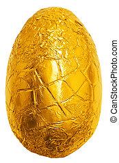 pascua, oro, hojuela, envuelto, huevo