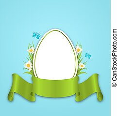 pascua, papel, huevo, con, flores, margarita, pasto o césped, mariposa, y, cinta, espacio de copia, para, su, texto