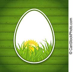 pascua, papel, pegatina, huevos, en, de madera, plano de...