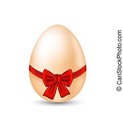 pascua, paschal, huevo, con, arco rojo, aislado, blanco, plano de fondo