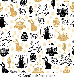 pascua, patrón, seamless, con, ángel, huevo, liebre, paloma