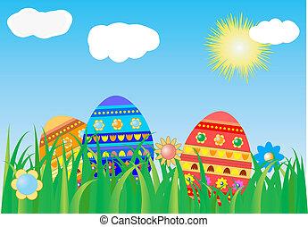 pascua, plano de fondo, con, colorido, huevo