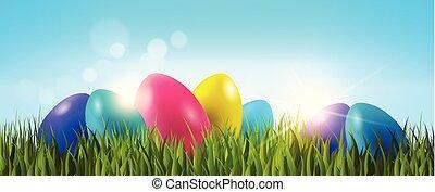 pascua, plano de fondo, con, colorido, huevos, en, hierba verde, encima, cielo azul, horizontal, bandera