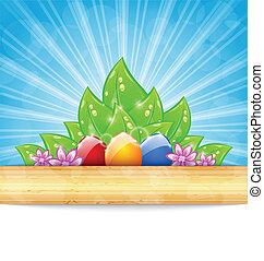 pascua, plano de fondo, con, colorido, huevos, hojas, flores