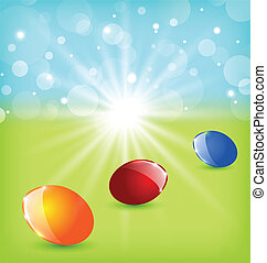 pascua, plano de fondo, con, colorido, huevos