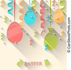 pascua, plano de fondo, con, colorido, huevos, y, serpentina