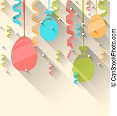 pascua, plano de fondo, con, colorido, huevos, y, serpentina, moderno, plano, estilo, con, largo, sombras