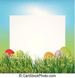pascua, plano de fondo, con, colorido, huevos, y, vacío, papel