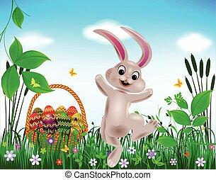pascua, plano de fondo, con, conejo