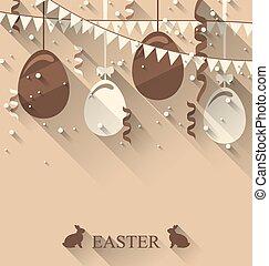 pascua, plano de fondo, con, huevos de chocolate, serpentina, y, banderitas, solapa, moderno, plano, estilo