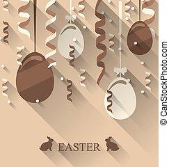 pascua, plano de fondo, con, huevos de chocolate, y, serpentina, moderno, plano, estilo