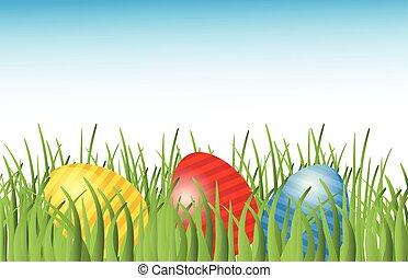 pascua, plano de fondo, con, huevos, en, pasto o césped