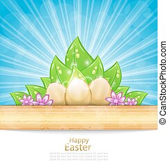 pascua, plano de fondo, con, huevos, hojas, flores