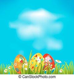 pascua, plano de fondo, con, huevos
