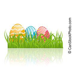 pascua, plano de fondo, con, paschal, ornamental, huevos