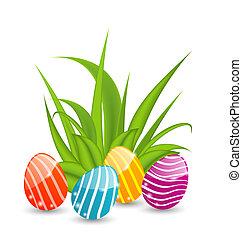 pascua, plano de fondo, con, tradicional, colorido, huevos