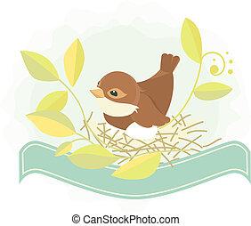 pascua, plano de fondo, -, pájaro, en, nido
