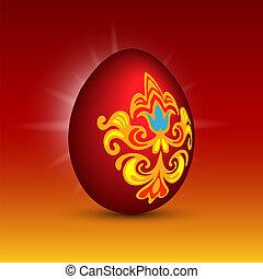 pascua, rojo, vector, huevo