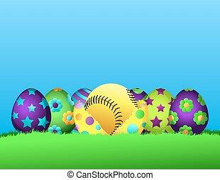 pascua, sofbol, huevo, fila