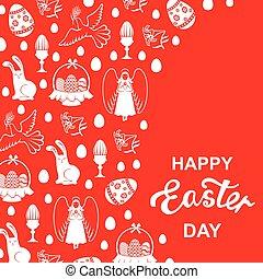 pascua, tarjeta, con, ángel, huevo, liebre, paloma, en, fondo rojo