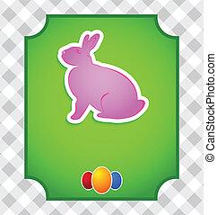 pascua, tarjeta, con, colorido, conejo, y, huevos